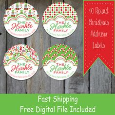 40 Round Christmas Themed Address Labels  by OhBabyStickers