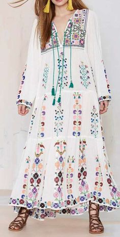 Blue Barcelona Embroidered Dress-looks so comfy & cute Hippie Style, Gypsy Style, Hippie Chic, Bohemian Style, Boho Chic, Hippie Hats, Modest Fashion, Boho Fashion, Fashion Outfits