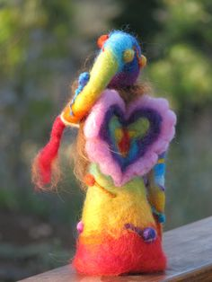 Needle felted rainbow waldorf inspired fairy by Waldorf Crafts, Waldorf Dolls, Girls Designer Dresses, Rainbow Fairies, 3d Figures, Felt Fairy, Angel Crafts, Needle Felted, Felt Dolls