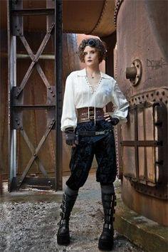 Steampunk Blouse and Trousers for women.  www.devilinspiredsteampunkdress.blogspot.co.uk
