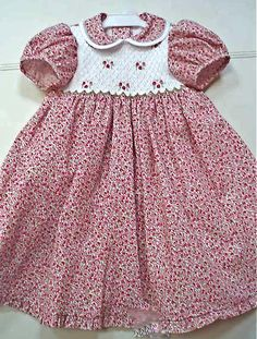 Hand smocked child's dress with cherries!