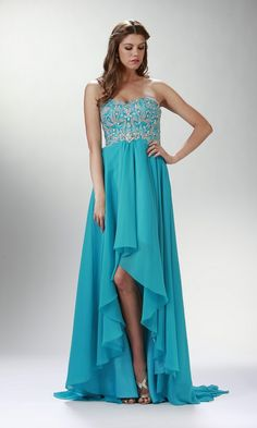 STRAPLESS CHIFFON HIGH-LOW DRESS WITH BEADED BODICE