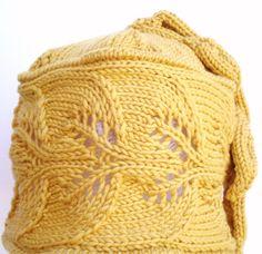 PDF Knitting Pattern  Wool Lace Cloche Hat  Trailing Leaves