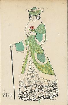 Fashion design by Maria Likarz (1893-1971, Austrian), ca. 1907-14, published by Wiener Werkstätte, WW.766.