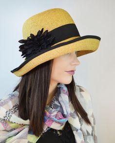 Want to be the talk of the town?  Try our KARMA hat this Spring - Oversized, upturn adjustable brim gives dramatic flair to this classic hat. Features black grosgrain ribbon and flower, plus an adjustable band for a custom-fit. #asianeye #hat #fashion #spring #flower #classic