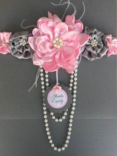 Pink and grey maternity sash maternity sash por designsbyemilys
