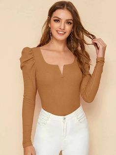 To find out about the Notch Neck Puff Sleeve Rib-knit Tee at SHEIN, part of our latest T-Shirts ready to shop online today! Plus Zise, Leg Of Mutton Sleeve, Fashion News, Fashion Outfits, Sweater Fashion, Types Of Sleeves, Rib Knit, Ideias Fashion, Sweaters For Women