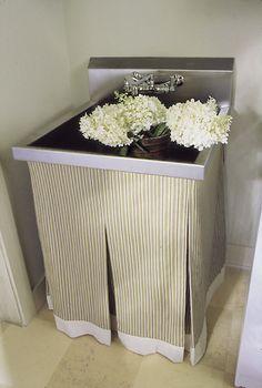 striped laundry room sink skirt