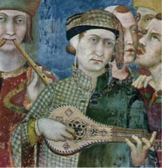 Parti-color cotehardie plaid Detail from The Knighting of St. Martin, Simone Martini, fresco dated about in the Lower Church of San Francisco, Assisi. Medieval Music, Medieval Clothing, Medieval Art, Medieval Pattern, Medieval Manuscript, Illuminated Manuscript, Italian Renaissance, Renaissance Art, 14th Century Clothing