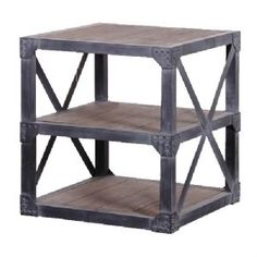 Raw Industrial Wooden End Table