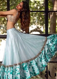 Light Blue #Lehenga With Nude Sequin #Blouse.