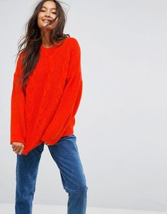 ASOS Sweater in Cable With Volume Sleeves - Pink