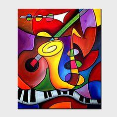 【今だけ☆送料無料】 アートパネル  抽象画1枚で1セット ファンタジー 演奏 楽器 ギター【納期】お取り寄せ2~3週間前後で発送予定