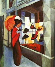 August Macke, La tienda de sombreros,1914. Óleo sobre lienzo, 50.5 x 60.5 cm
