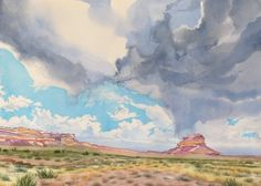 """watercolor by Leslie White, """"Summer Rainstorm Over Fajada Butte"""" 16""""x 22"""" This amazing sight at Chaco Culture World Heritage Site, NM. http://www.trailheadstudios.com/index.html"""