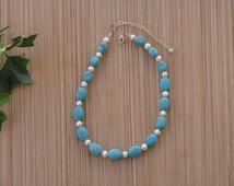Turquoise Necklace Pearl OOAK Real Genuine Gemstone