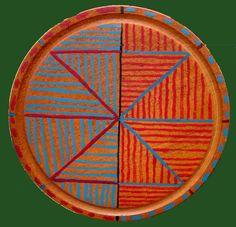 CONSTRUCCION SOBRE CIRCULO,  Oleo sobre plato de madera 20 cm diámetro 2003.