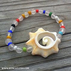 Conch Shell, Pink Quartz and Colorful Beads Bracelet by Rum Cay Island Jewelry