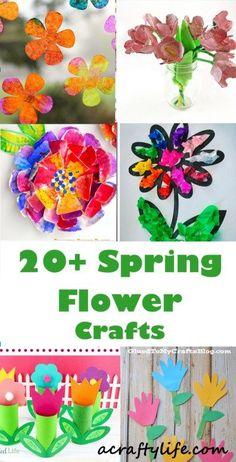 20 plus spring flower crafts - kids crafts - acraftylife.com