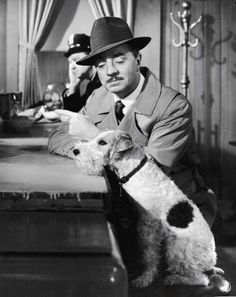 William Powell and Asta I adore the Thin Man movies - all 3 stars, Wm. Powell, Myrna Loy and Asta are so funny. Fox Terriers, Chien Fox Terrier, Wire Fox Terrier, Golden Age Of Hollywood, Vintage Hollywood, Hollywood Stars, Classic Hollywood, Hollywood Icons, Hollywood Hills