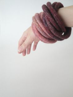 Red Felted Bracelet Twisted Chunky Multicolor Modern Fiber Art Yoga OOAK - Cranberry 2