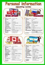 English worksheet: SPEAKING CARDS. PERSONAL INFORMATION 1/3 (8 cards + quiz)