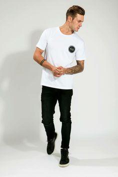 MEN'S WHITE/BLACK LOGO TEE Logo, Mens Tops, T Shirt, Black, Fashion, Supreme T Shirt, Moda, Logos, Tee Shirt