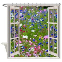 Wildflowers Through Window Shower Curtain on CafePress.com