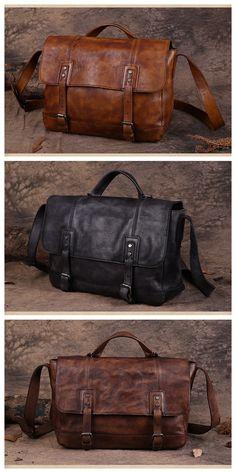 Handmade Vintage Top Grain Leather Briefcase Men's Messenger Bag 13'' Laptop Bag Men's Fashion Briefcase Leather Shoulder Bag 15003 Overview: Design: Vintage Leather Men's Briefcase In Stock: 3-5 days