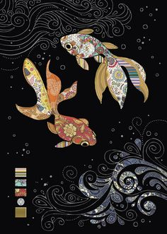 Two Fantail Fish is part of M Two Fantail Fish Em Fish Art Bug - Embossed with gold and silver holographic foil Art And Illustration, Illustrations, Art Bug, Carpe Koi, Fish Design, Japanese Embroidery, Art Graphique, Fish Art, Chalkboard Art
