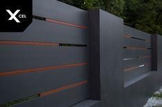 Flow is modern aluminum fence with Rockina Cubero walls and unusual version of the Horizon Massive panels. // W nowoczesnym ogrodzeniu aluminiowym Fl. House Gate Design, Door Gate Design, Modern House Design, Balustrade Balcon, Front Wall Design, Compound Wall Design, Privacy Fence Designs, Boundary Walls, Fence Styles