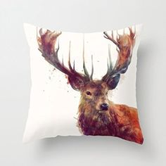Red Deer Pattern Square Decorative Pillows for Sofa Pillow Cover for Girls Pi...