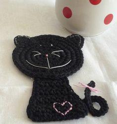 Black Crochet Cat Coaster 1 piece by MonikaDesign on Etsy
