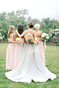pastel #bridesmaids Photography: Brumley And Wells - brumleyandwells.com Read more here: http://www.stylemepretty.com/2014/04/09/romantic-garden-party-style-wedding/