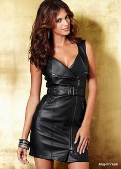Faux leather dress from VENUS women's swimwear and sexy clothing. Order Faux leather dress for women from the online catalog or Black Faux Leather Dress, Leather And Lace, Real Leather, Leather Skirt, Sexy Outfits, Sexy Little Black Dresses, Leder Outfits, Leather Fashion, Look Fashion