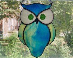 Stained Glass Owl Suncatcher Bird Window by StainedGlassYourWay #StainedGlassOwl