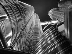 Petronas Towers in black and white, via Flickr.
