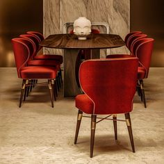 More classy, the private dining room has the ideal ambiance for a business lunch or for some more exclusive social meeting. Using gold leaf as background, it highlights the Ottiu's bestseller, upholstered in scarlet red cotton velvet. Private Dining Room, Hospitality Design, Cotton Velvet, Gold Leaf, Bold Colors, Scarlet, Best Sellers, Highlights, Art Deco