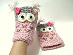 Crochet Pattern Gloves Pattern Owl Gloves Pattern por AllSoCute