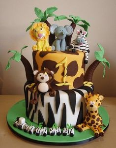 50 Best Zoo Birthday Cakes Ideas And Designs Jungle Birthday Cakes, Jungle Theme Cakes, Animal Birthday Cakes, Birthday Cake For Him, Safari Cakes, First Birthday Cakes, 2nd Birthday, Jungle Safari Cake, Birthday Ideas