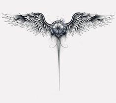 Arm tattoo, wing tattoos on back, chest tattoo, map tattoos, spine tattoos Alas Tattoo, Tattoo Side, Nape Tattoo, Spine Tattoos, Body Art Tattoos, Sleeve Tattoos, Small Tattoos, Tattoo Art, Half Sleeve Tribal Tattoos