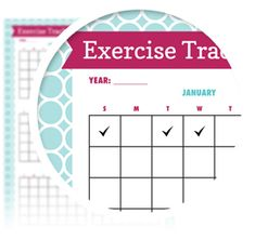 "Monthly Exercise Tracker - Download here: https://www.alejandra.tv/shop/printable-home-organizing-checklists/alejandra_product/monthly-exercise-tracker/?utm_source=Pinterest&utm_medium=Pin&utm_content=Checklistk&utm_campaign=Pin  Track the number of days you exercise per month and year with this super simple chart. Place an ""X"" or sticker on the day you work out. At the end of the month, tally up number of days exercised and see if you met your goal."