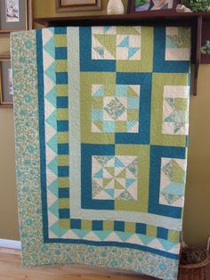 Queen/King Sampler Quilt in Turquoise blue dark teal by djwquilts, $500.00  It's MAY and here's a gorgeous entry into the QQQ Quilt of the Month Contest. #QQQ #EtsyQQQ