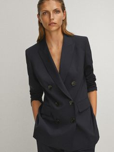 Double-breasted blazer - Women - Massimo Dutti Navy Blue Blazer, Double Breasted Blazer, Blazers For Women, Suit Jacket, Suits, Jackets, Products, Fashion, Navy Blue