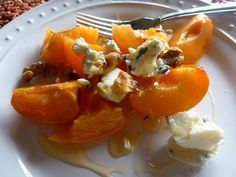 FRESH APRICOT SALAD WITH BLUE CHEESE AND HONEY?  OH MY!
