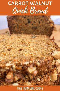 Carrot Bread is an easy to bake quick bread recipe that's loaded with carrots but don't worry - your family won't notice! It's flavored with cinnamon and spices, walnuts and a healthier, reduced fat secret! Have it for breakfast or as a snack slathered with some butter! #carrotbread #quickbread #brunchrecipe
