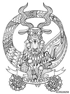 Capricorn zodiac sign coloring page for adults | Fotolia 139228258