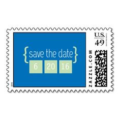 Aqua blue and mint green Save the Date postage stamp