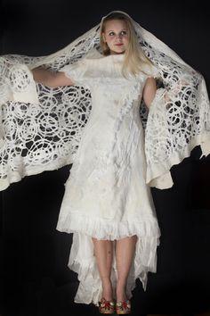 . Nuno Felt Scarf, Felted Scarf, Recycled Dress, Textiles, Nuno Felting, Felt Art, Wedding Shawls, Pumpkins, How To Wear