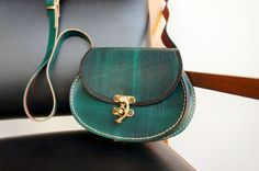 Leather small oval messenger bag green with by GalenUnique on Etsy, $39.00